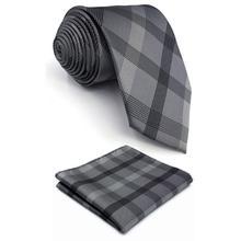 Dark Grey Checkes Mens Neckties Set Classic Accessory Pocket Square Wedding Xlong Silk