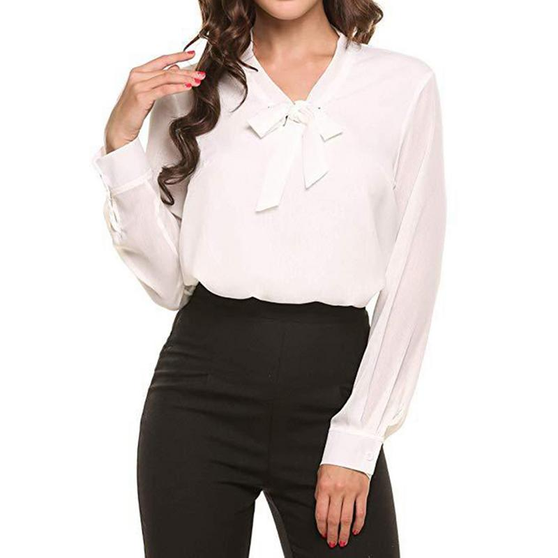 New Spring Summer Autumn Blouse Women Long/Short Sleeve Shirts Fashion Leisure Chiffon Shirt Bow Office Ladies black White Tops
