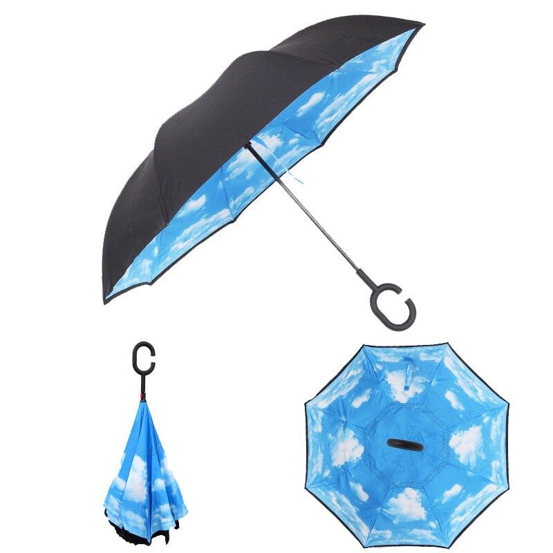 Prime bleu coupe-vent pliage inverse Double couche inversé pluie parapluie auto Stand Protection contre la pluie c-crochet mains pour voiture