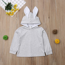 2019 New Toddler Baby Girl Kid Cute Hoodies Coat Rabbit Ear Bunny Hoodie Pullover Grey Coat Jacket Outwear Snowsuit Clothes 1-6Y(China)