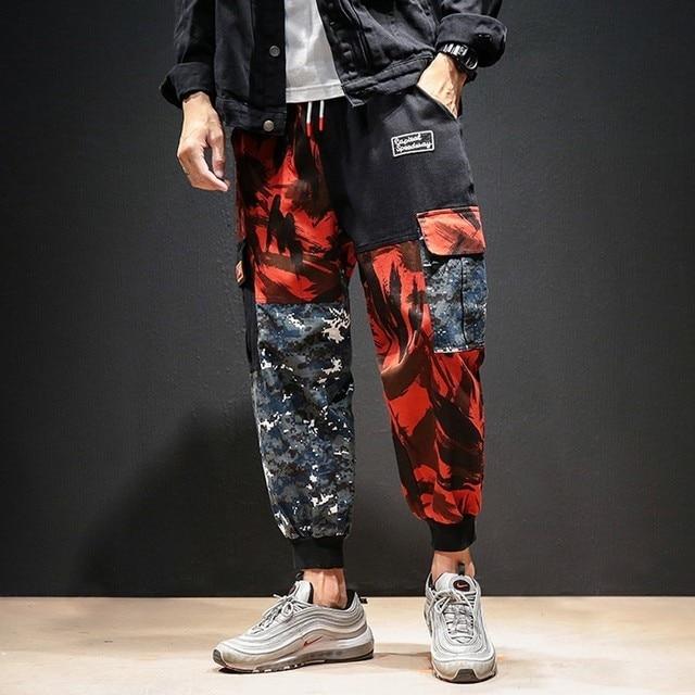 Homens Carga Calças de Camuflagem Harajuku M-5XL Lado Bolso Harem Dança Hip Hop 2019 Algodão Plus Size Confortável Casuais Calças Dos Homens