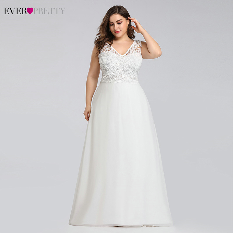 Image 3 - Ever pretty Plus Size Lace Wedding Dresses A Line Floor Length Sleeveless Illusion Elegant Wedding Gown 2019 Vestido De Noiva-in Wedding Dresses from Weddings & Events
