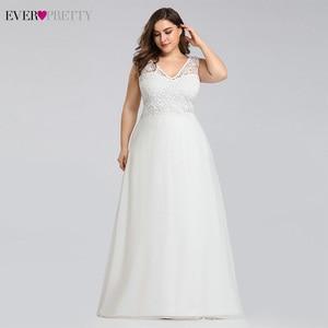 Image 3 - Ever pretty размера плюс кружевные свадебные платья а силуэта длиной до пола без рукавов Иллюзия Элегантное свадебное платье 2020 Vestido De Noiva