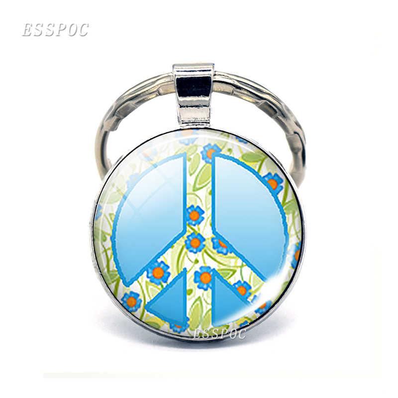 Винтажный Hippie Peace ЗНАК брелок модный мужской женский кошелек сумка автомобильный кулон держатель зеленый символ мира знак брелок кольцо подарок