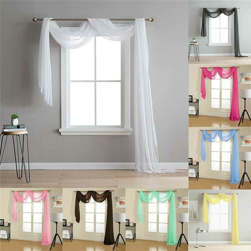 Plain Retro Sheers Curtains Voile Tulle Door Window Curtain Scarf Valance Home Textile