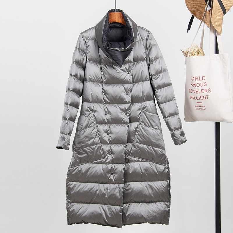 2019 белая куртка на утином пуху женская зимняя Двусторонняя пуховая куртка однобортный Тонкий теплый пуховик зимняя верхняя одежда Okd571