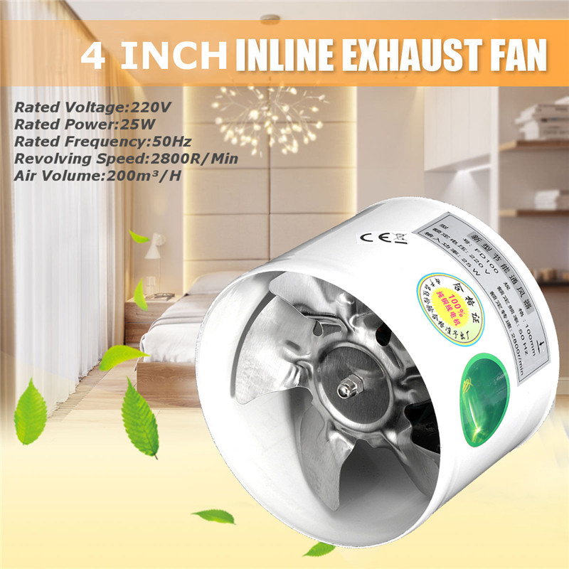 4 Inch Metal Blade Air Cooling Vent Kitchen Toilet Exhaust Fan Duct Fan Booster Exhaust Blower Air Conditioning Appliance Part