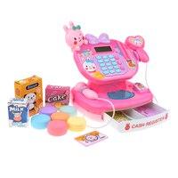 Pretend Play Toy Cash Register W/ Mic Speaker & Scanner, Supermarket Cashier Role Play Game Food Cake Snack Money Props Kid Gift