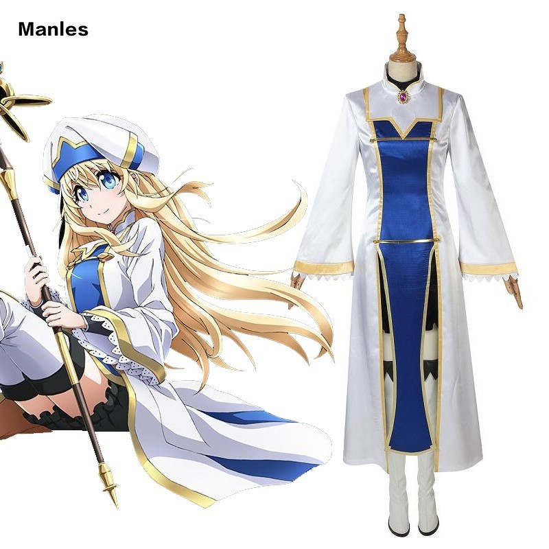 Anime Goblin Slayer Priestess Costume Cosplay Carnival Adult Superhero Halloween Girl Dress Party Custom Full Set With Boots