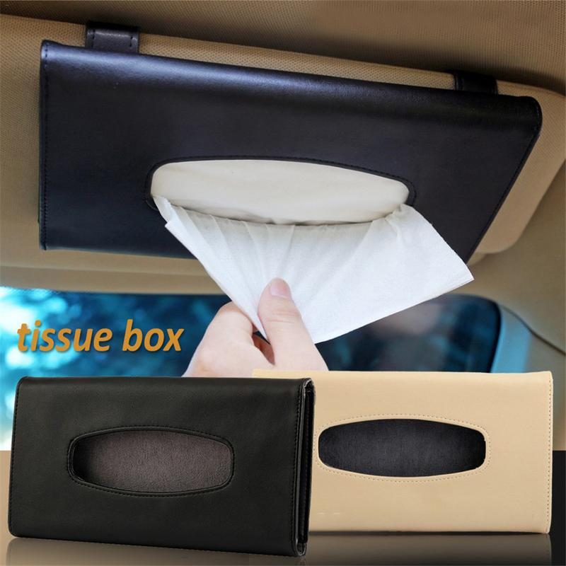Car Sun Visor PU Leather Tissue Box Auto Clip Holder Paper Napkin Accessories