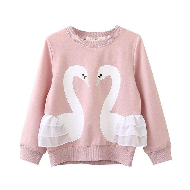 2018 ילדים חדשים אביב סתיו 3d ברבור נים בגדי ילד תינוק בנות כותנה ארוך שרוול תחרה חולצה למעלה ילדים מקרית בגדים
