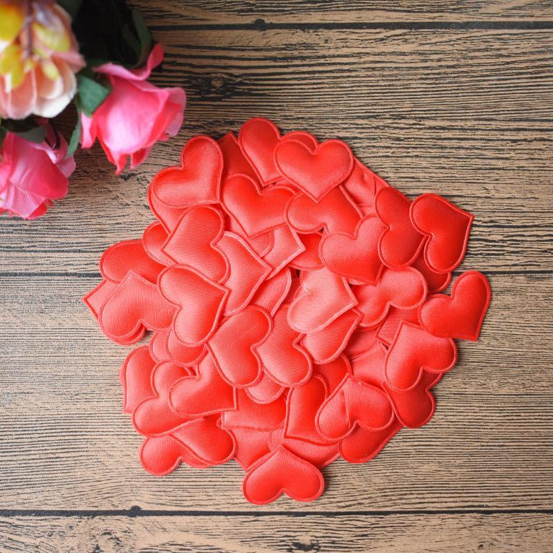 100pcs Bag Fabric Heart Petals Table Bed 30mm Heart Petals