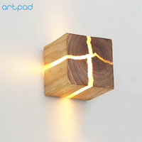 Japanese Style Art Decoration LED Wall Lamp Bedroom Bedside Aisle Indoor Home Light Fixtures G4 Wood Wall Lamps for Living Room