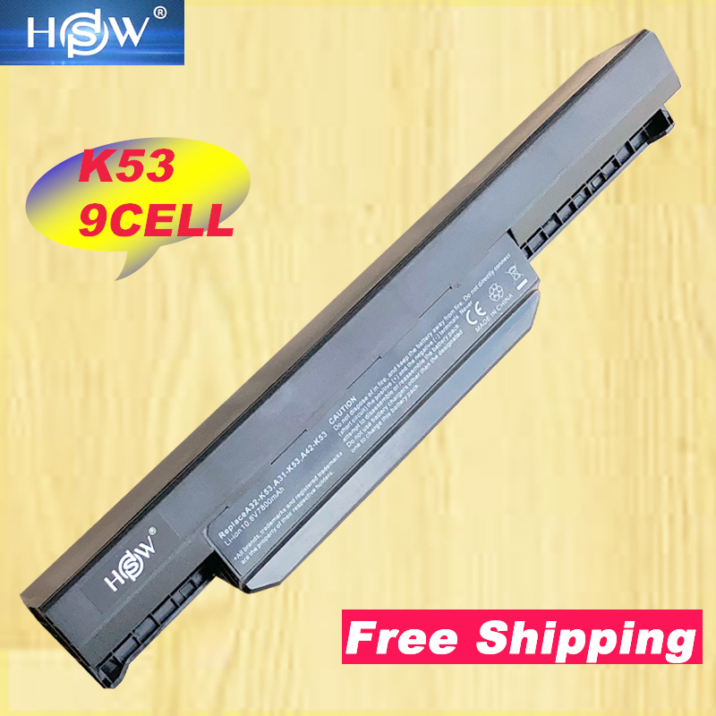 HSW 9 Cells Laptop Battery For Asus K53S K53 K53E K43E K53 K53T K43S X43E X43S X43E K43T K43U A53E A53S K53S Battery-in Laptop Batteries from Computer & Office