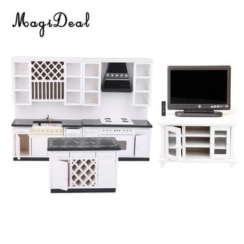 Delicate 1/12 White Kitchen Cabinet & Television & TV Cabinet Dollhouse Dining Room Living Room Accessories