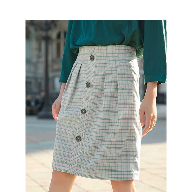 INMAN 2019 primavera nueva llegada cuello vuelto Blazer Retro falda de cintura alta Plaid mujeres traje de dos piezas