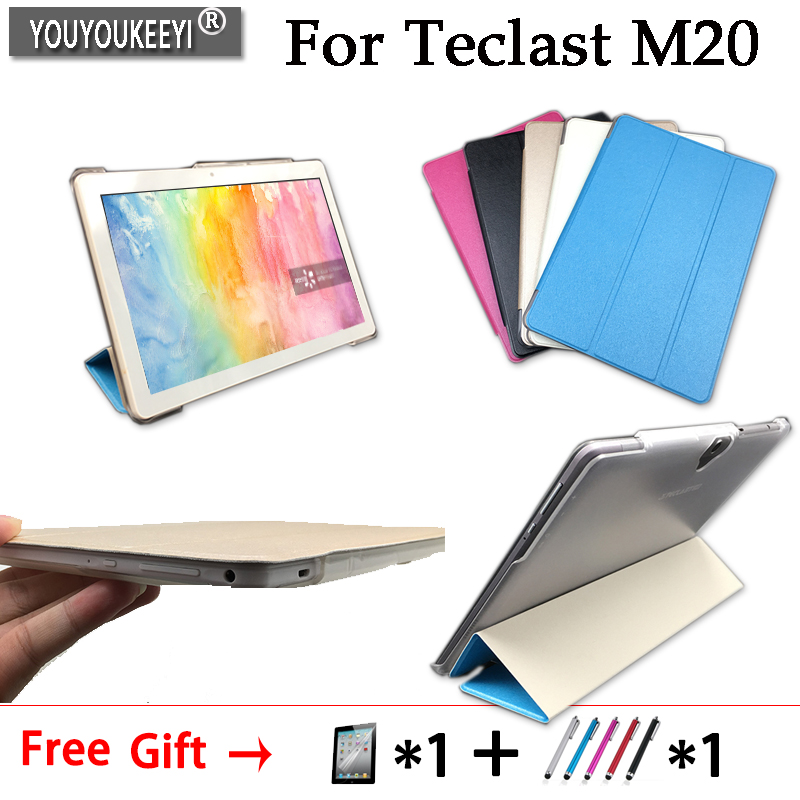 Ultra Slim Case For Teclast M20 10.1inch Tablet Triple Folding Stand Cover For Teclast M20, Tempered Glass Membrane Optional