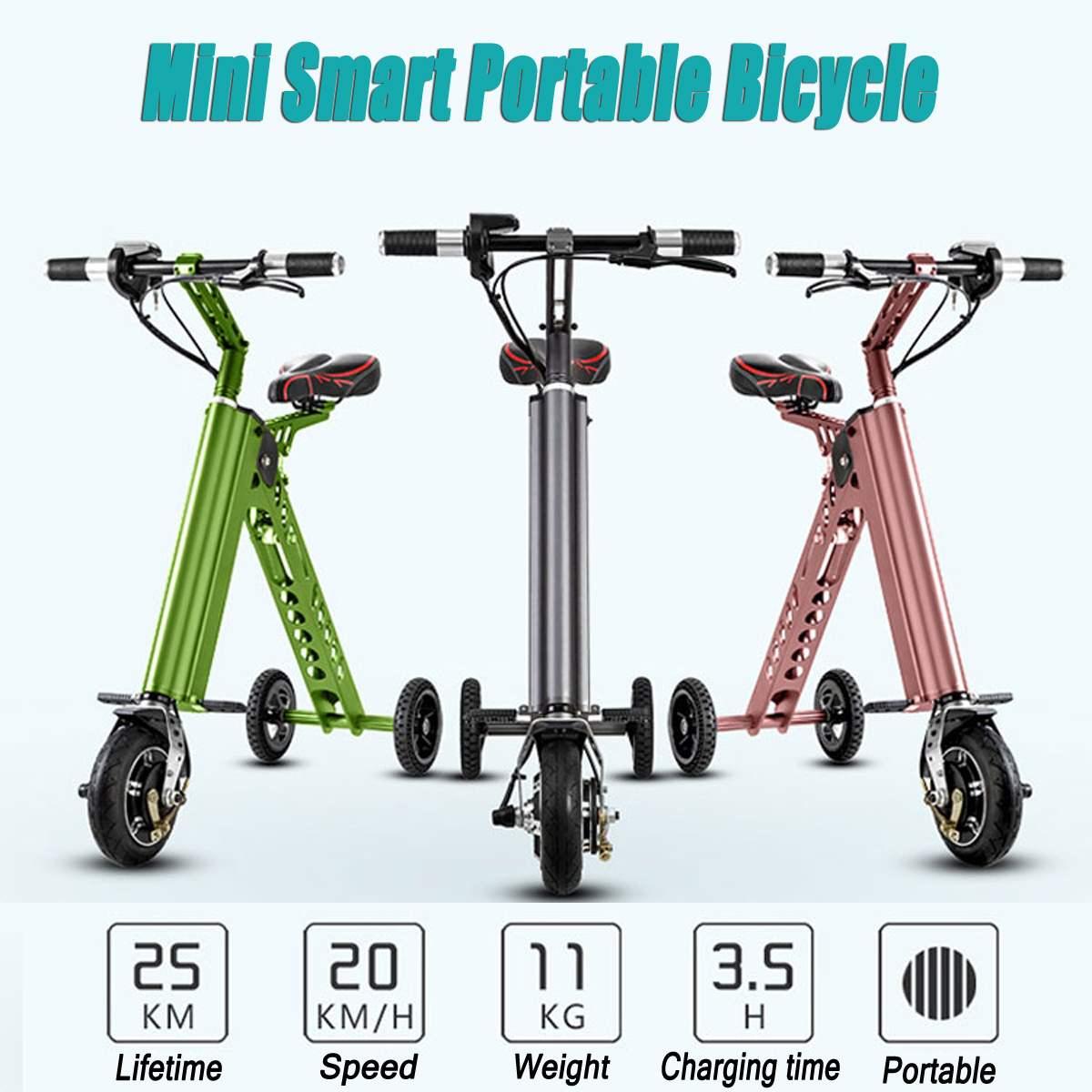 8 Mini Portable Bicycle Folding Electric Bike Mini Folding Electric Bike Travel Smart Instead Walking Tool Scooter 3 Wheels