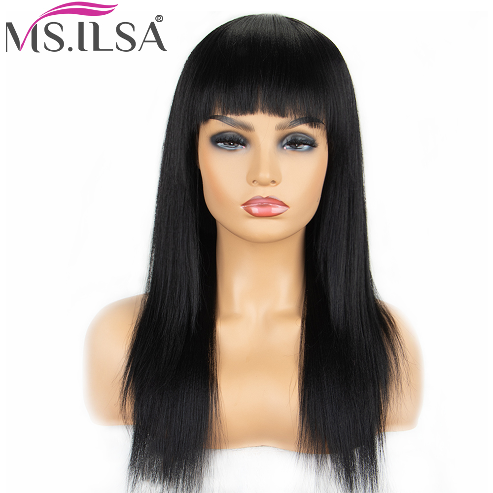 100% Human Hair Straight Hair Wigs For Black Women 130% Density Brazilian Remy Hair Wigs With Bangs Full End MS.ILSA