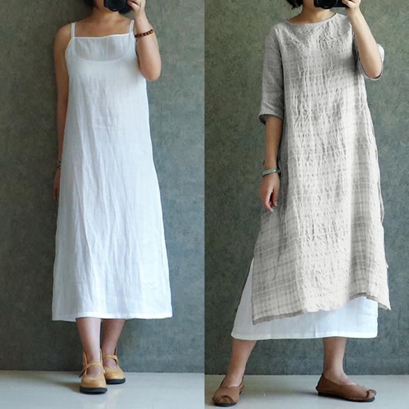 Celmia 2019 Summer Check Plaid Sundress Vintage Women Cotton Linen Shirt Dress Casual Half Sleeve Loose Midi Vestidos Plus Size