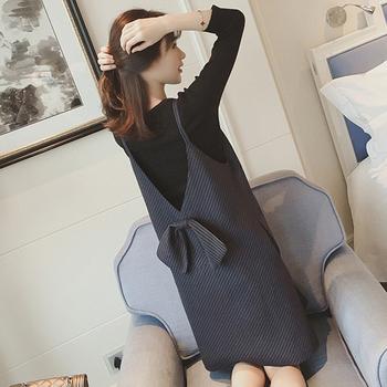 Hurtownie 2020 wiosna kobiet w ciąży karmienie piersią zestaw moda z długim rękawem t-shirt pielęgnacyjny + w paski na ramiączkach sukienka laktacja twinset tanie i dobre opinie Pengpious REGULAR COTTON Powyżej kolana Mini Swetry Szorty