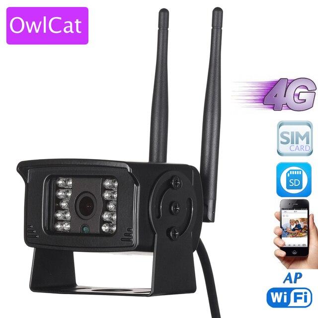 OwlCat 3G 4G الهاتف المحمول بطاقة SIM 1080P HD مراقبة عن بعد شبكة صغيرة CCTV كاميرا مراقبة واي فاي ذاكرة الحركة فتحة للبطاقات