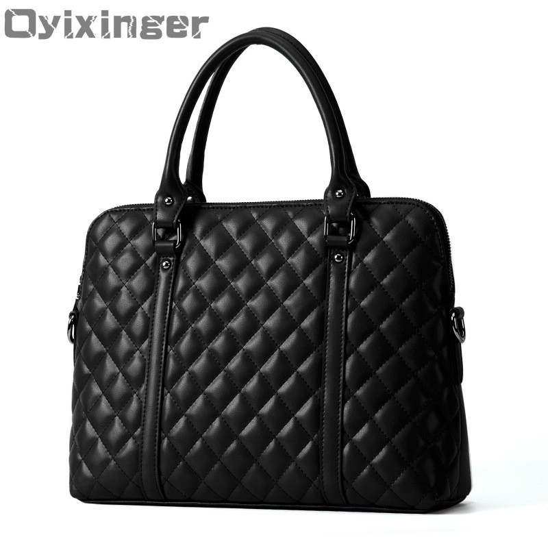 Black Genuine Leather Women Handbag Business Briefcase Bag Women's 14 Inch Laptop Bags Female Cow Leather Diamond Lattice Bag