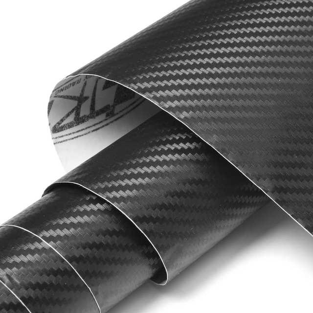 250 x 65cm Black 3D Carbon Fiber Vinyl Motocycle Wrap Sheet Roll Film Sticker Foil