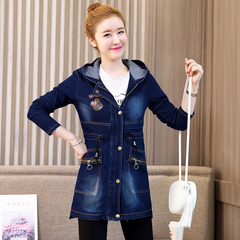 #3330 Blue Denim Jacket Windbreaker Letters Printed Elegant Jeans Jacket Women With Hood Outerwear Denim Long Coat Ladies Zipper