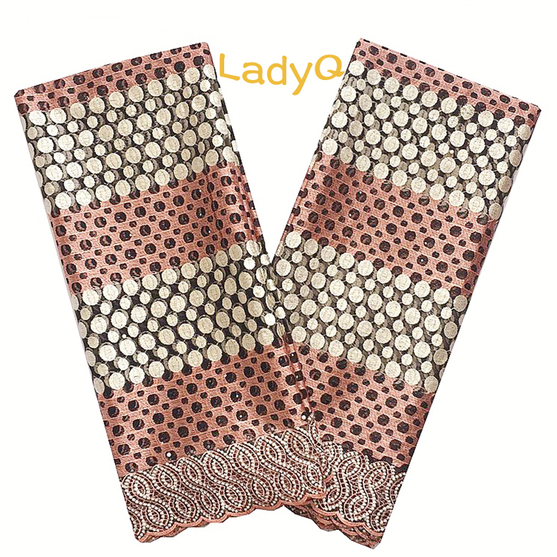 Nigerian High Quality African Tulle Lace Fabric 2018 Peach Gold 