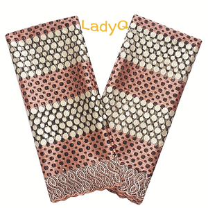 Image 1 - Nigerian High Quality African Tulle Lace Fabric 2018 Peach Gold Guipure Cord Lace Fabric 2019 Mesh Net White Voile Lace Fabric
