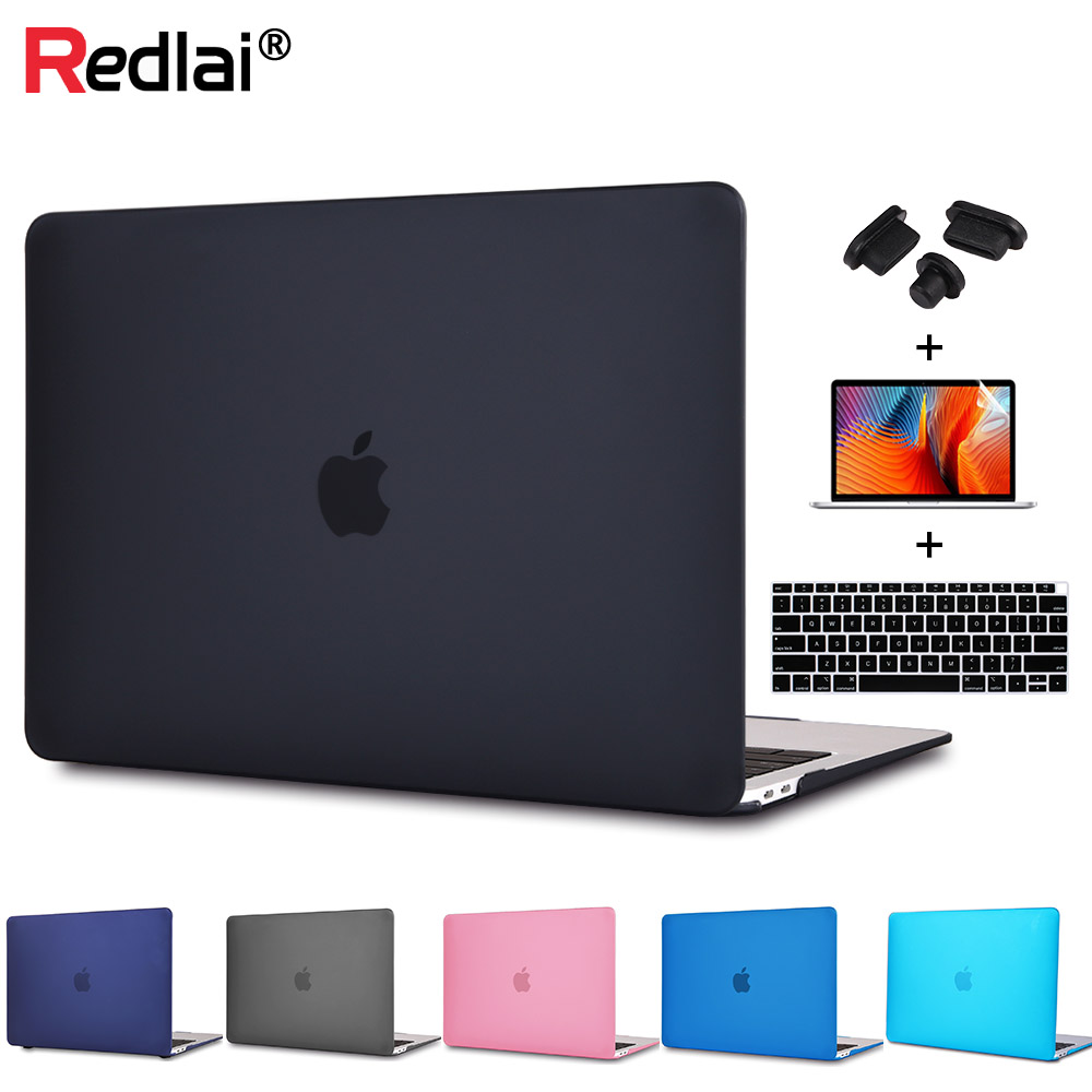 Redlai Plastic Hard Case for MacBook Air Pro Retina 12 13 15 New Pro 13 15 Touch bar A1706 A1707 Ստեղնաշարի կափարիչ + Էկրանի պաշտպանիչ