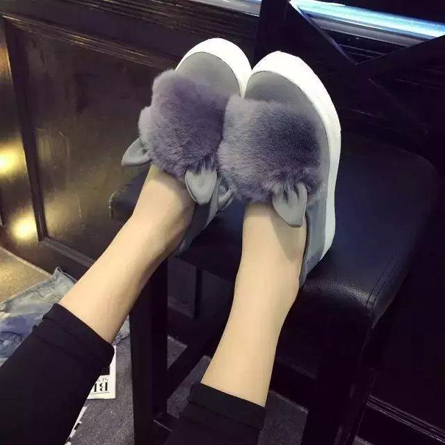 2018 Mocassins Hiver Mignon Mujer Femme Femenino Zapatos Jane Faux Glissement Oreille Chaussures Plates Mary Chaud Fourrure Décor vqE15EwU