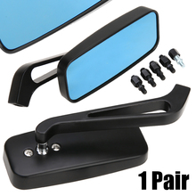For H-arley Softail Sportster Chopper Bobber 1 Pair Aluminum Motorcycle Rearview Side Mirrors Smoke Blue Mayitr