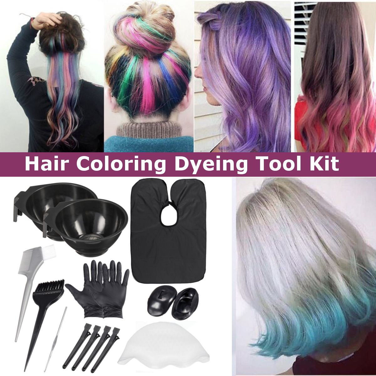 Salon Hair Color Dye Bowl Comb Brushes Tool Kit Set With
