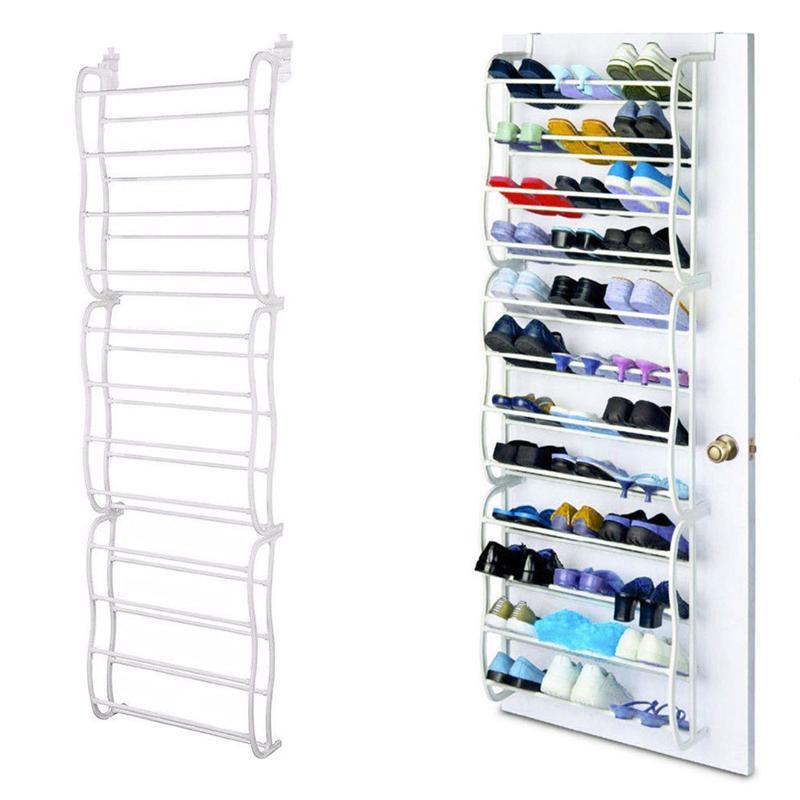 12 Layer 36 Pair Over The Door Hanging Shoe Hook Shelf Rack Holder Storage Organizer White