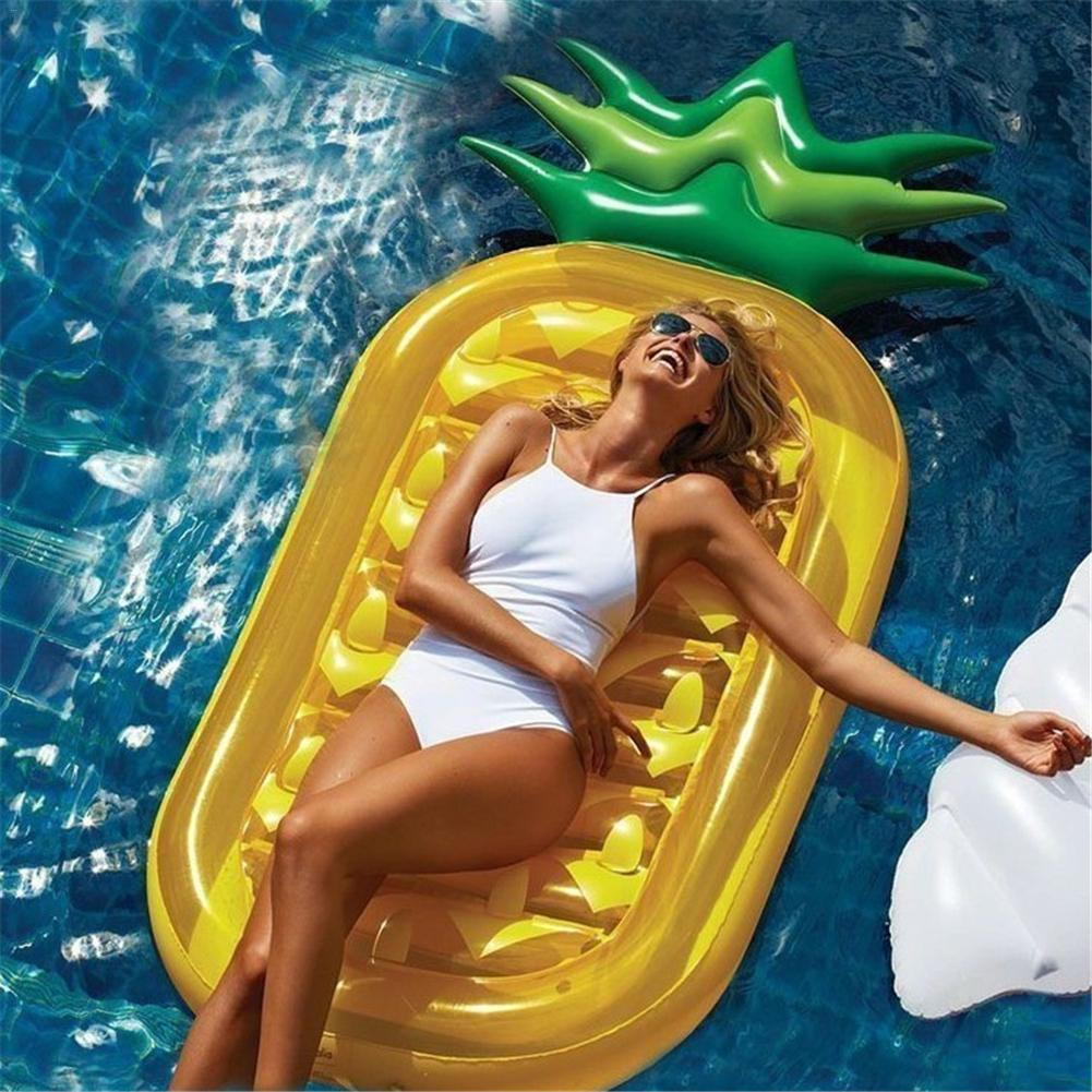 PVC Inflatable Pineapple Air Mattress Water Row Floating Mat Adult Water Game Sunbathing Floating Chair Inflatable Cushion