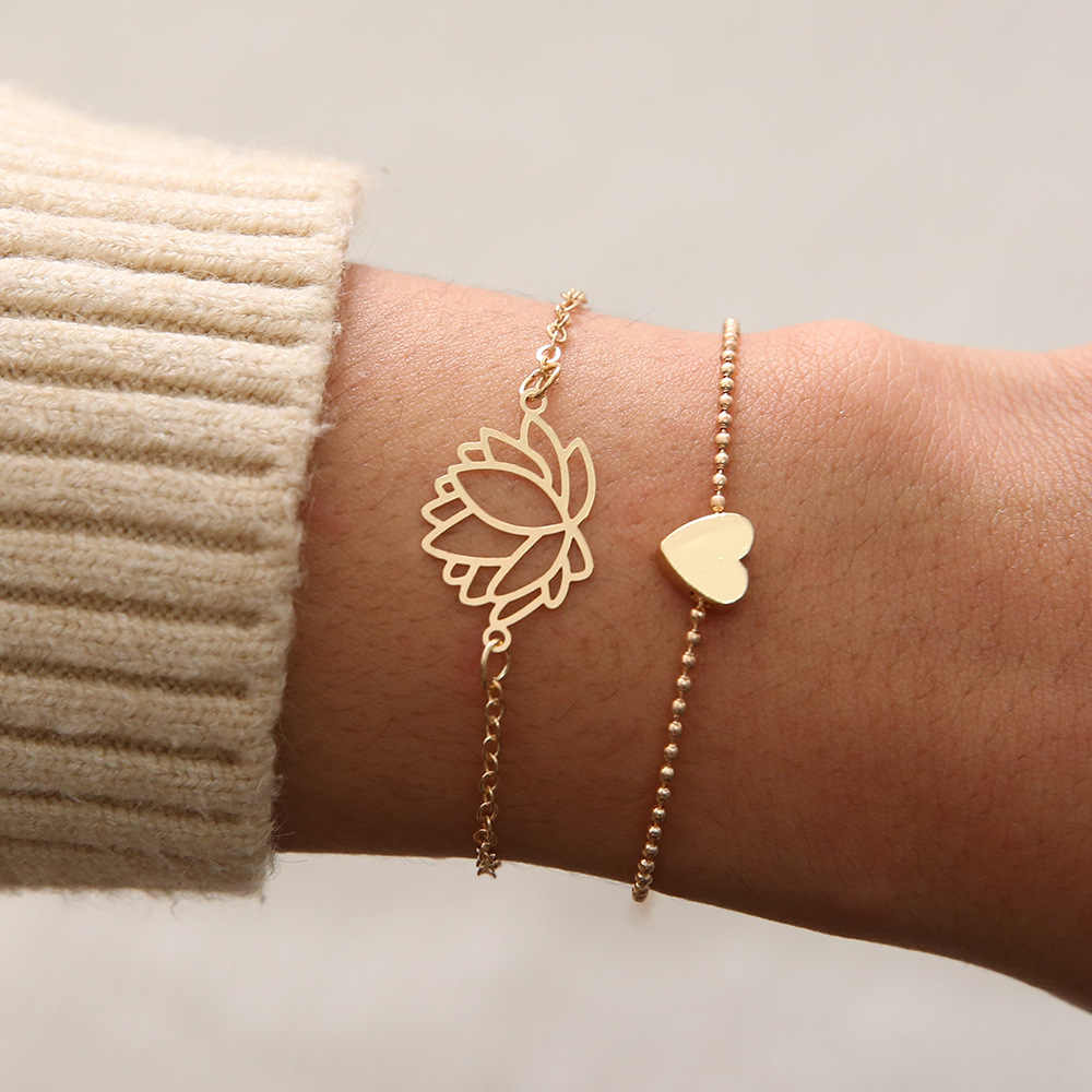 2018 nowa prosta kobieca osobowość z dziurką lotos złote bransoletki świąteczna bransoletka prezent dla kobiet