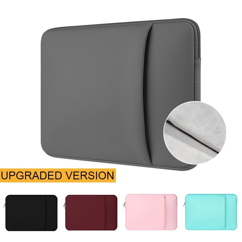 Upgrade 12 13 14 15.6 Inch Laptops Sleeve Case For Macbook Air Pro Soft Plush Lining Version Waterproof Zipper Notebook Bag.