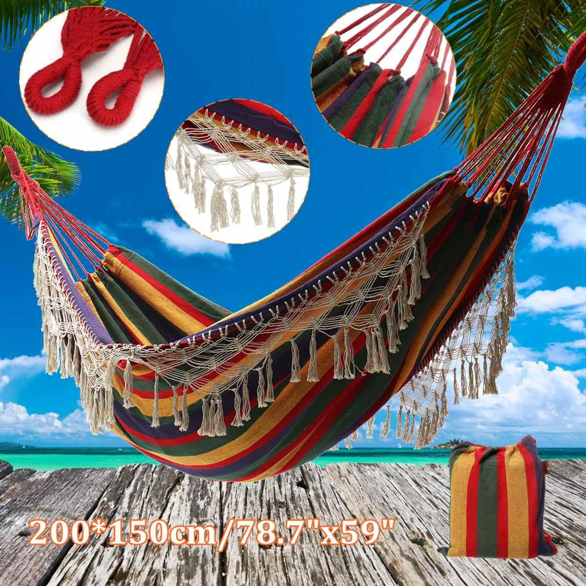 Premium jardin hamac accrocher lit toile voyage extérieur balançoire Camping 200*150 twinjoy