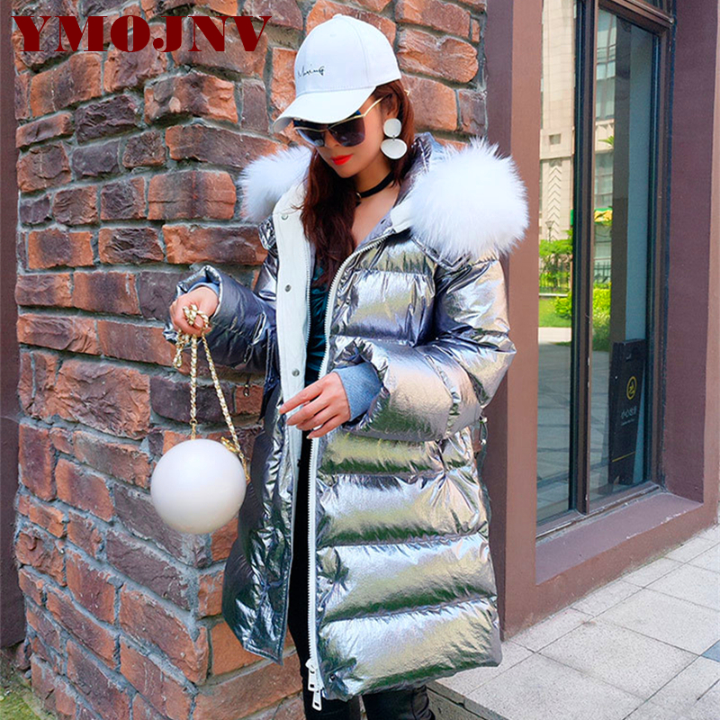 YMOJNV Natural Raccoon Fur Collar   Down     Coat   Parka For Women Fashion Sliver Bright Hooded Winter Jacket Female Casual Streetwear