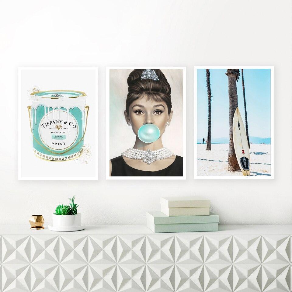 Bolhas de Audrey Pintura de Paisagem Decoração do Quarto Hepburn Arte da Parede da Lona Cartaz Moda Azul Pena Pintura Imprimir Imagem Moderna