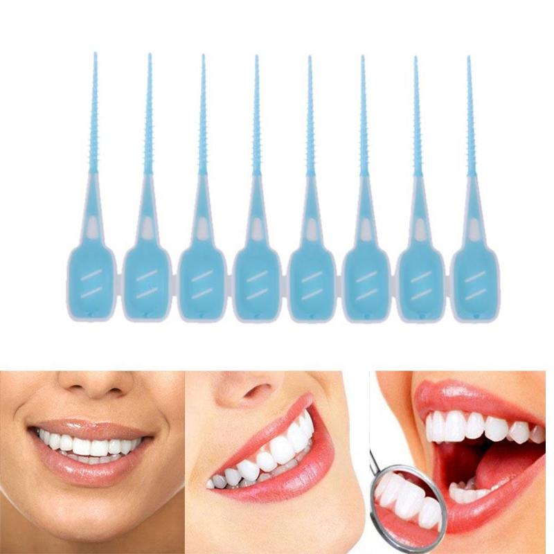 16pcs/Set Soft Silicone Dental Floss Interdental Brush Disposable Teeth Stick Toothpicks Floss Tooth Pick Oral Care Brush