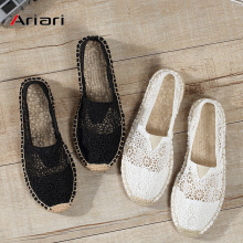 Women Shoes Loafers Ballet Slip on Casual Shoes Espadrilles Hemp Canvas Flat Shoes Hollow Out Comfor Summer Shoes Size 35-40 veowalk striped women casual cotton cloth loafers handmade slip on ladies thick hemp soled canvas flat shoes zapato mujer