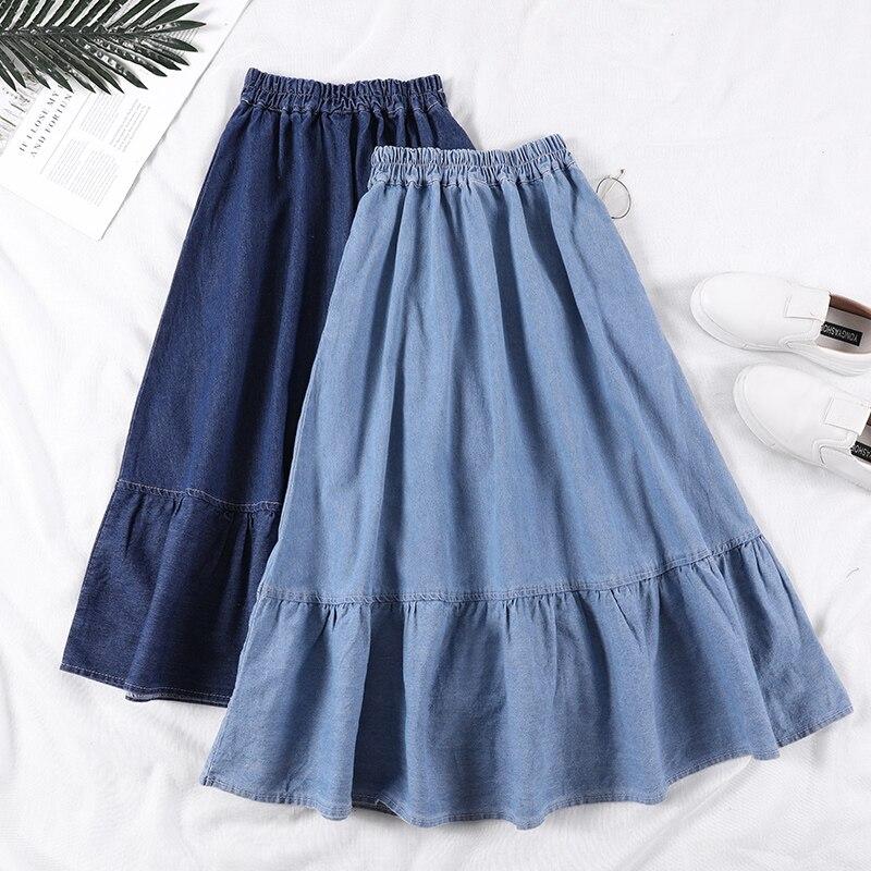 Summer Saia Female A-Line Long Denim Skirt Pockets Women High Waist Midi Jeans Skirts Dark Blue,Light Blue Plus Size Skirt