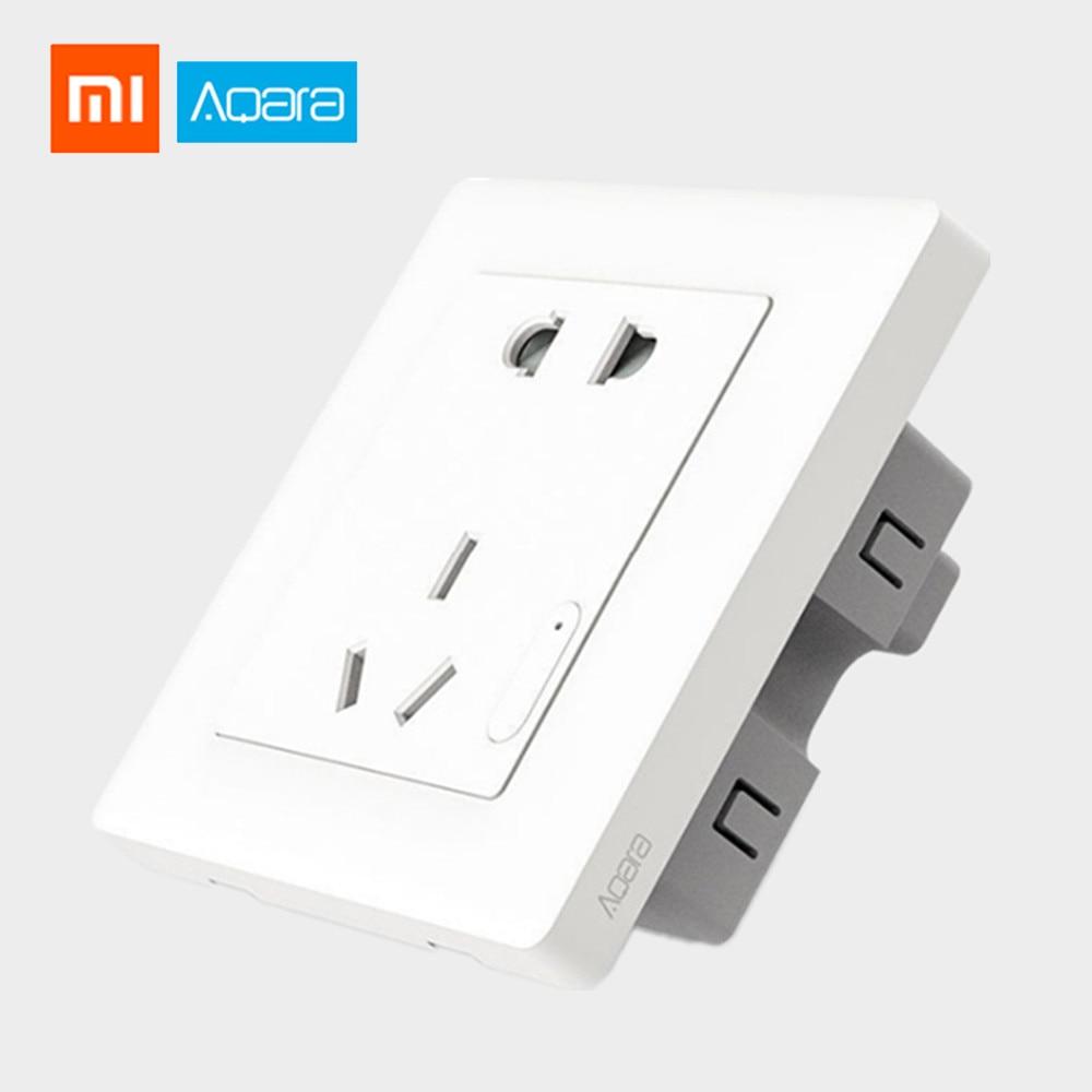 Original xiaomi aqara controle de luz inteligente zigbee interruptor de parede tomada smartphone xiaomi app remoto sem fio dispositivo casa inteligente