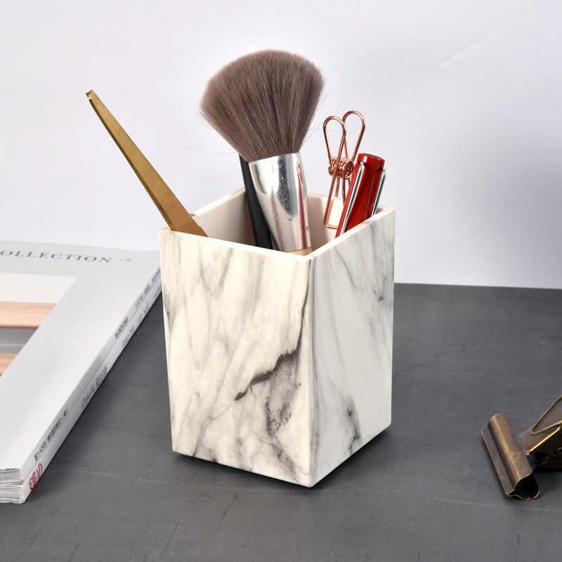 الرخام حامل قلم مكتبي مكتب مدرسة حقيبة للتخزين واضح أبيض أسود صندوق بلاستيكي مكتب القلم قلم رصاص منظم منظم مكتب