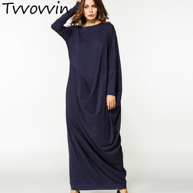 2019 new fashion loose large size o neck irregular fold dress female's long sleeve X long clothing autumn Vestido L098