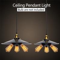 AC110V 220V E27 Led Pendant Lamps Bulb Retro Industrial Vintage Hanging Iron Chandelier 3 Heads Black Shell