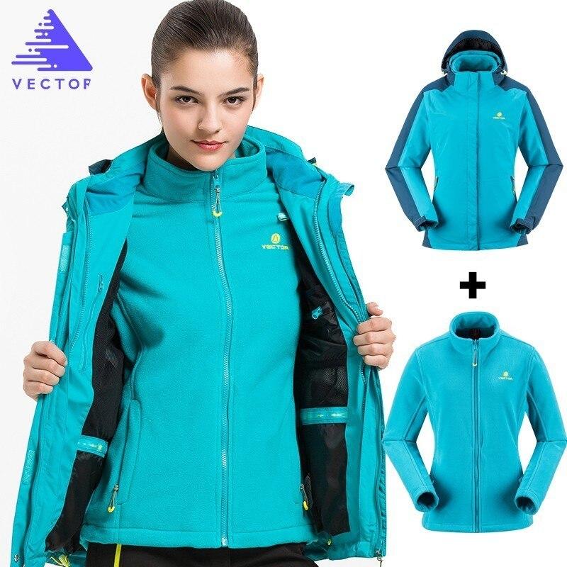 Two Piece One Set Three Wear Warm Winter Outdoor Waterproof Rain Jacket Women Windproof Fishing Climbing